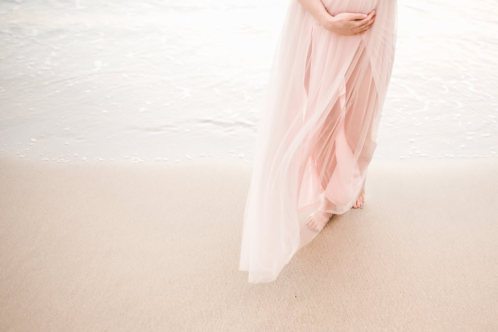 pink dress maternity photos