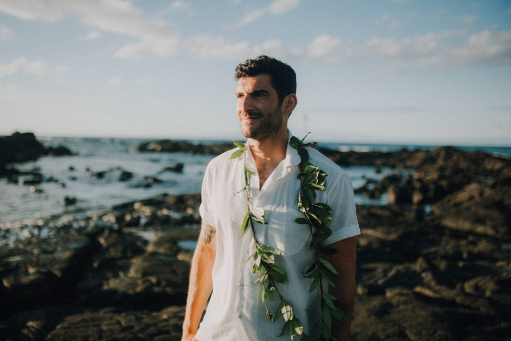 hawaii wedding, big island elopement, hawaii elopement, hawaii wedding, big island wedding, big island wedding ceremony, hawaii beac wedding, hawaii lei, groom lei, lava wedding