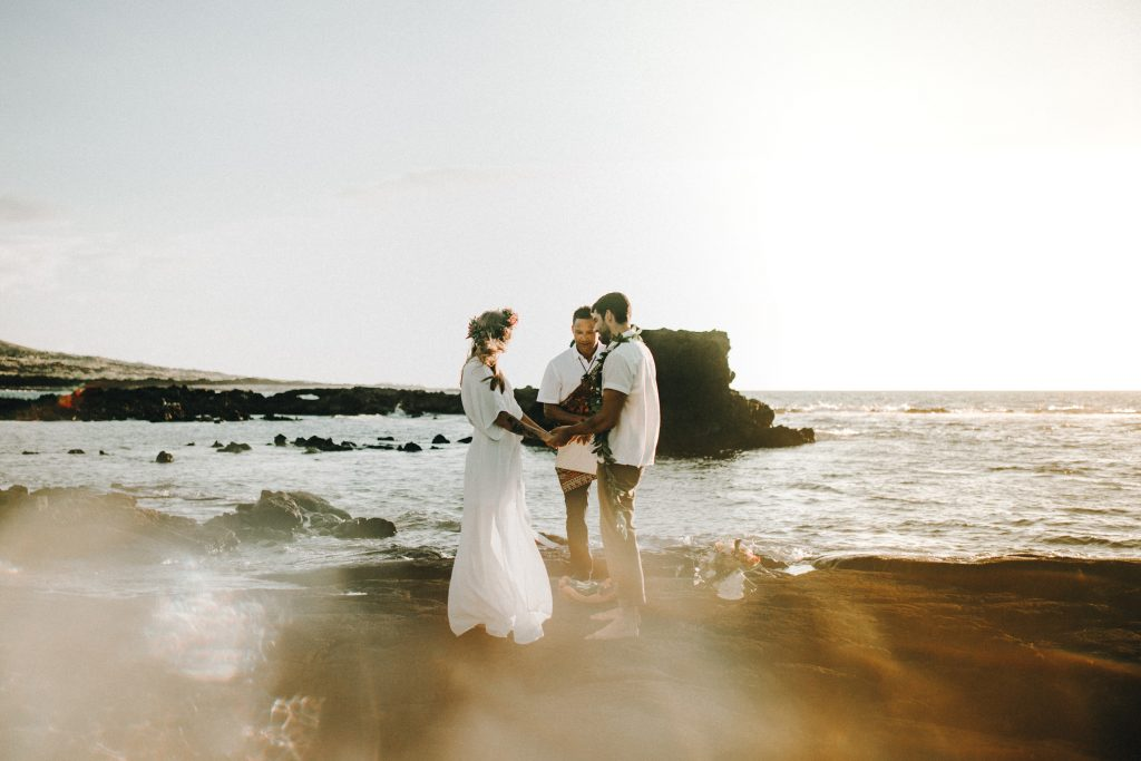 hawaii wedding, big island elopement, hawaii elopement, hawaii wedding, big island wedding, big island wedding ceremony, hawaii beac wedding, hawaii lei, bride flowers, lava wedding, barefoot wedding, beach wedding hawaii