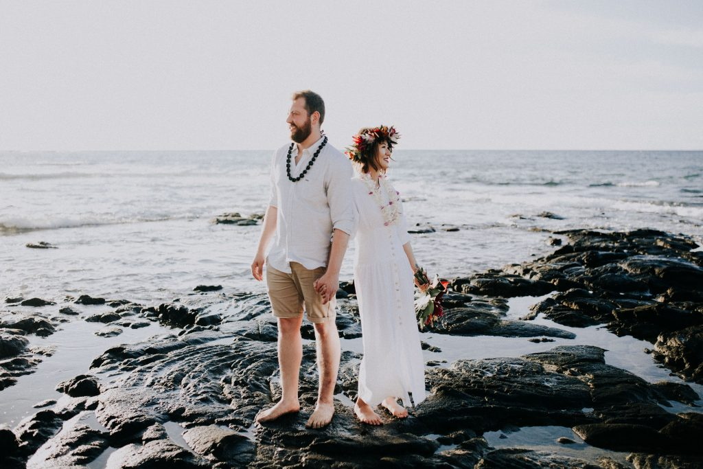 newlyweds in hawaii, big island beach elopements, big island photographer