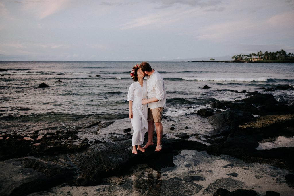 sunset weddings in hawaii, A couple eloping on a beach in Hawaii
